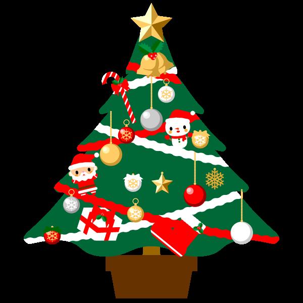 縁無しでかわいいクリスマスツリーの無料イラスト商用フリー オイデ43