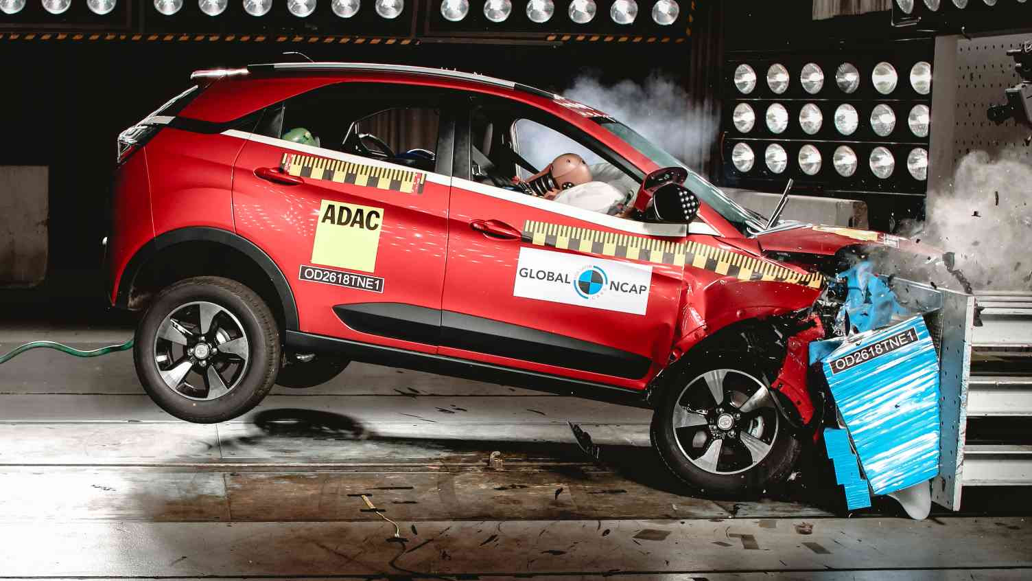 The Tata Nexon was the first made-in-India model to receive a full five stars from Global NCAP. Image: Global NCAP