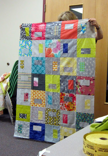 grey and brights quilt