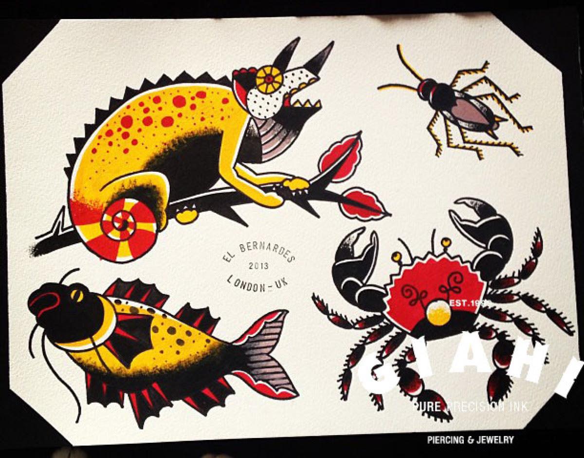 Cocroach Fish Crab Chameleon Tattoo Idea By Elda Bernardes Best