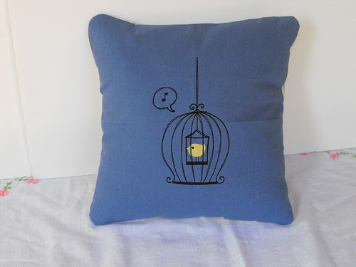 Scrolled Birdcage with Bird Embroidery