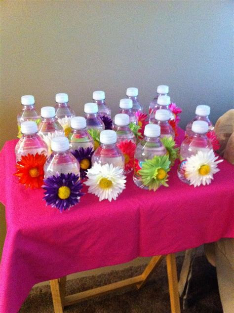 House warming favors for a friend. mini water bottles