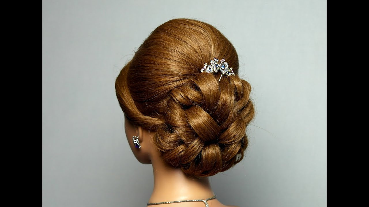 Wedding prom hairstyle  for long  hair  Bridal updo YouTube