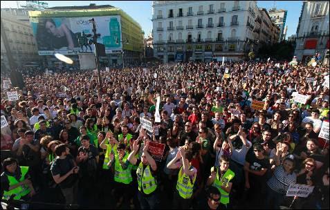 La manifestación multitudinaria a su llegada a la Puerta del Sol.