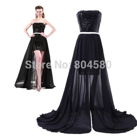 Fashion 8th Grade High Low Cocktail Party Gown Black