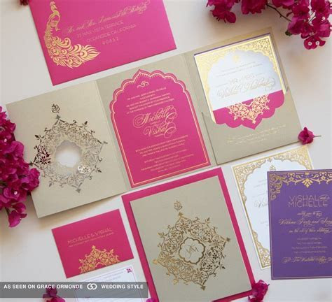 pink and gold wedding invitation set   Wedding Invitations