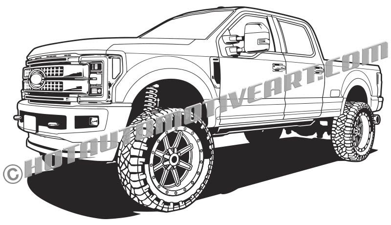 Coloring Pages Trucks Ford Diesel Truck Lifted Printable Exeranmat Coloring