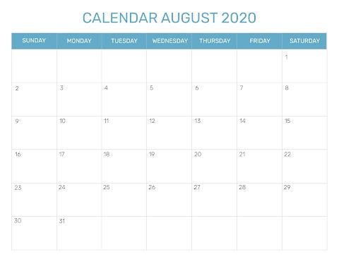 2020 Calendar August Month