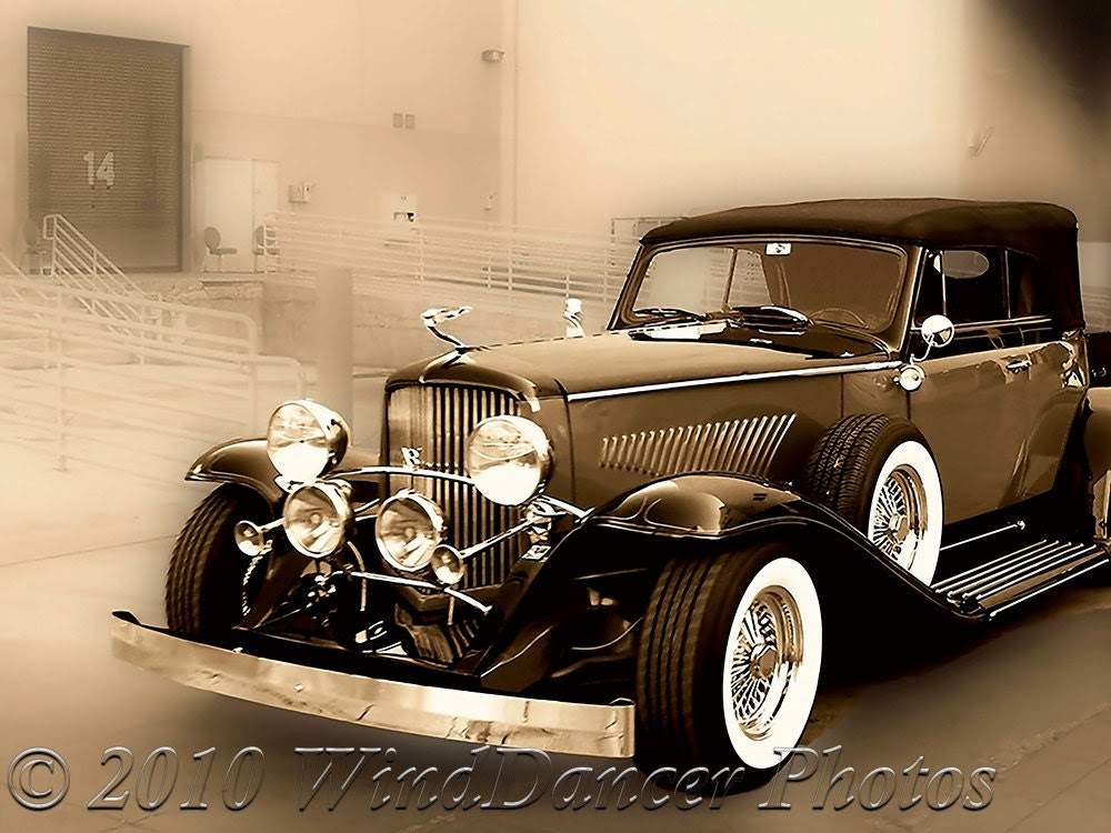 1934 Duesenberg at the Loading Dock  - Sepia -11 x 14  -Classic Car Photograph - Luxury - Bygone Days -Fine Art Photo - ForDaGuys