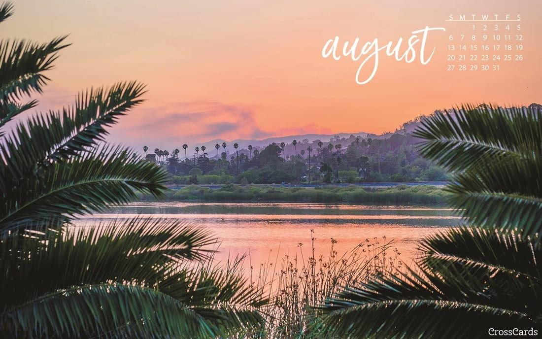 August 2017 - Tropical Sunset Desktop Calendar- Free ...