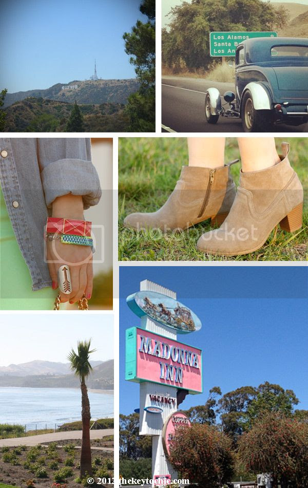 Hollywood sign, Mossimo Kaelyn boots, Madonna Inn, Highway 101, ocean view