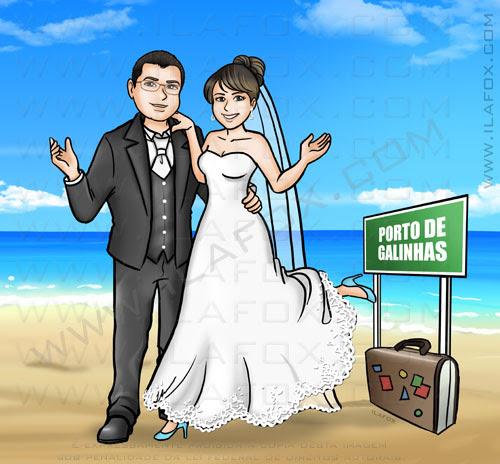 caricatura casal na praia, noivos, noivos na praia, by ila fox