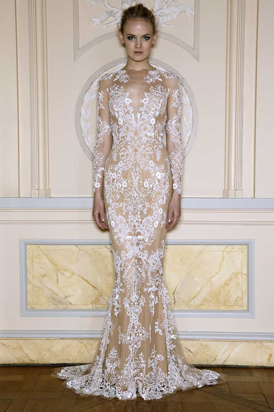 Lace evening dress long
