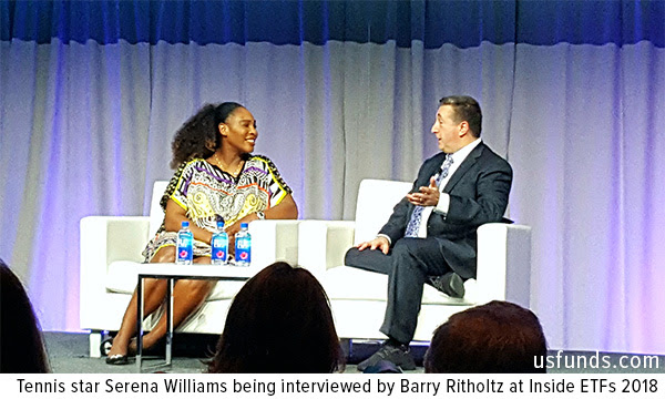 Tennis star Serena Williams being interviewed by Barry Ritholtz at Inside ETFs 2018