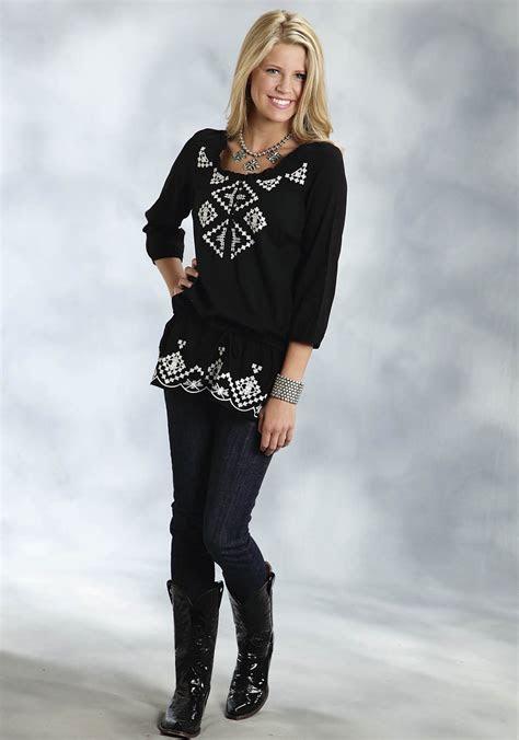 roper womens black cotton gauze aztec embroidered peplum waist western tunic