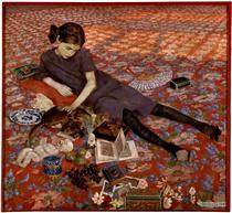 Girl on a red carpet - Felice Casorati