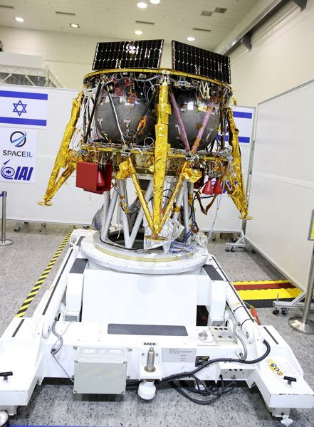 An image of SpaceIL's lunar lander at its assembly facility in Israel.