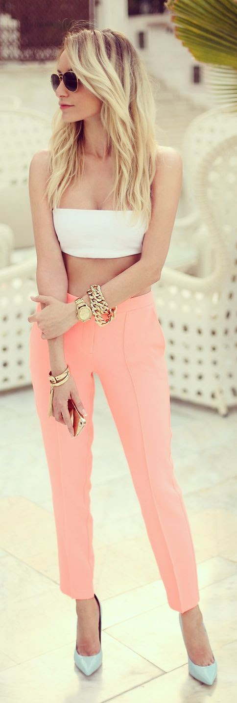 TopShop - Coral, Tailored Ankle Trousers.