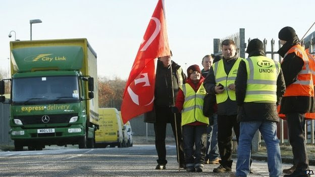 Picket line outside a City Link depot