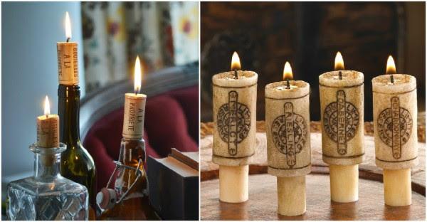 Wine Cork Candles   DIY Tag