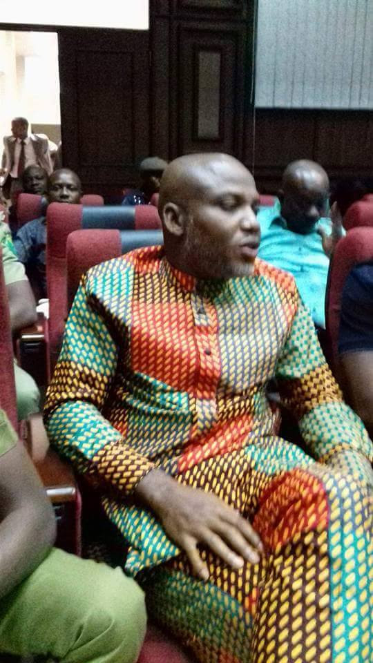 Photos Of Nnamdi Kanu In Court Today For His Bail Hearing -