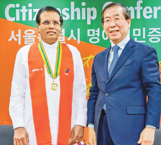Seoul Metropolitan Honorary Citizenship for President Sirisena
