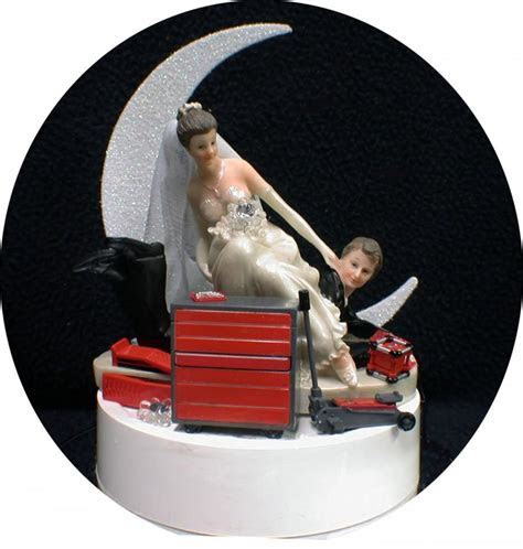 Car AUTO MECHANIC Tools Wedding Cake Topper Bride & Groom