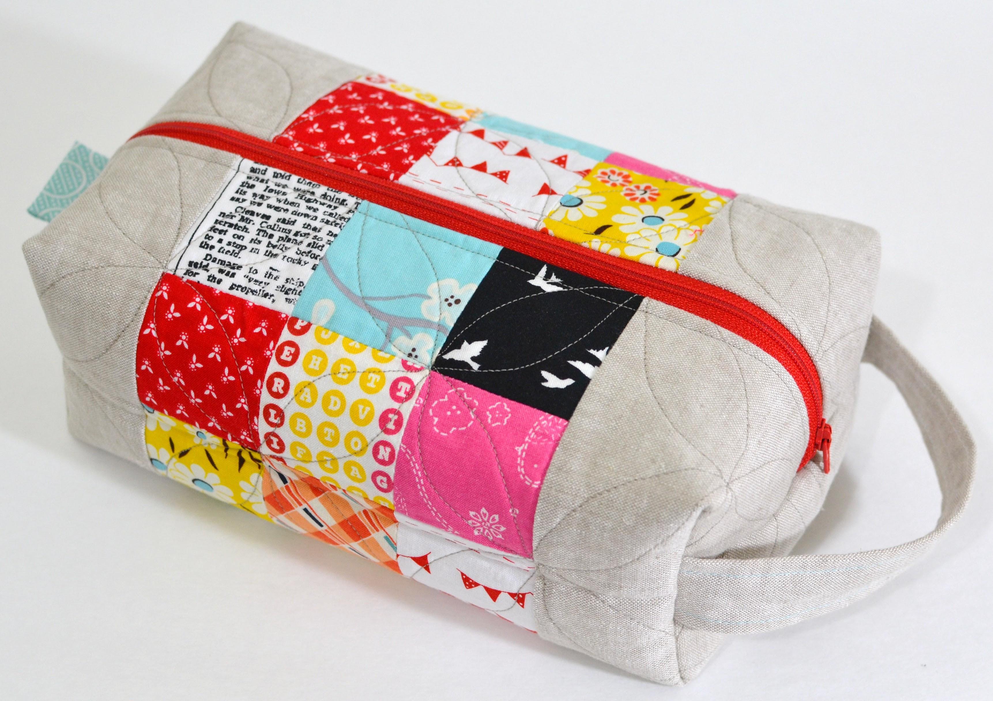 Patchwork & Linen Box Pouch