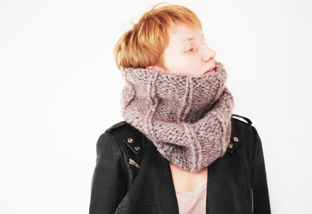 Handknit Scarf, Circle Infinity Scarf, Knit Snood, Chunky Cowl Valentines Day idea for Her girlfriend