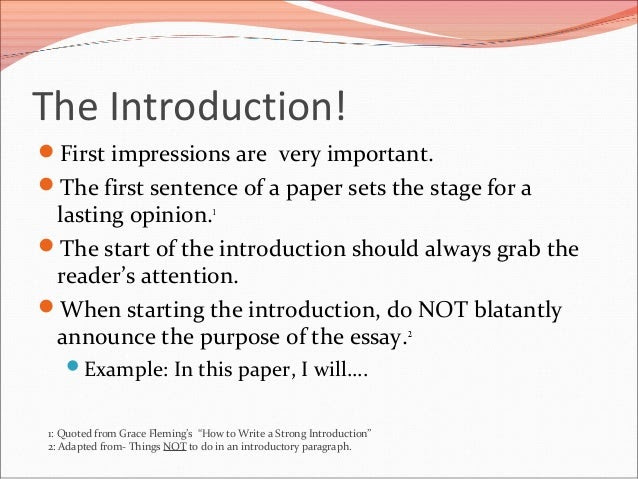 how to write a proper introduction to an essay