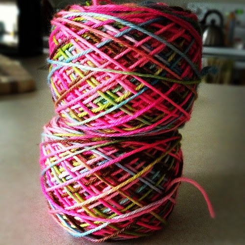 Here we go: Sereknity sport weight in the color way SleepyEyes that I won in a contest! It's the brightest and most colorful yarn I've ever used! #yarn