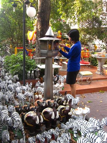 Small shrine surrouned by hundreds of plastic zebras, Bangkok