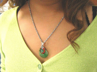 Wire wrapped Donut Jade Pendant