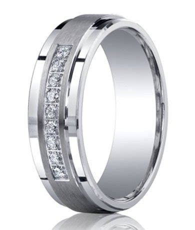 Mens Argentium Silver Diamond Ring   Satin Finish