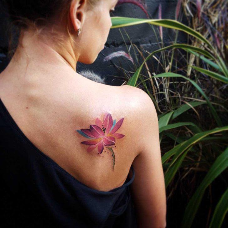 Purple Lotus Tattoo On Shoulder Blade Best Tattoo Ideas Gallery