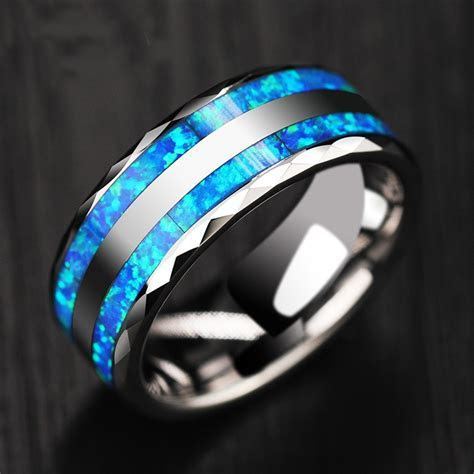 Personalized Opal Men's Tungsten Ring   Promise Ring For
