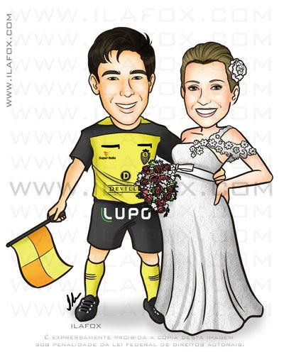 Caricatura casal, noivo bandeirinha, noiva grávida, caricatura para casamentos by ila fox