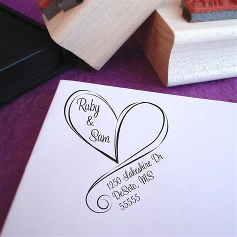 Wedding Return Address Stamp, Free Shipping, Swirly Heart