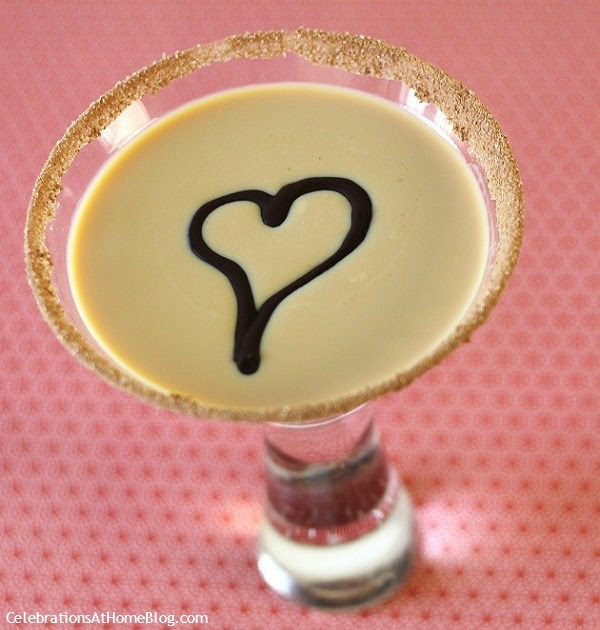 float a chocolate heart on top of cocktail