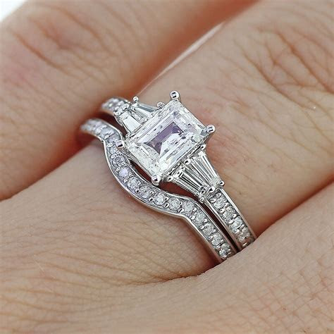 2.65Ct Emerald Cut Diamond Engagement Ring & Matching