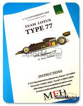 Transkit 1/12 Model Factory Hiro - Lotus Ford 77  Nº 5 - Mario Andretti - Gran Premio de Japon 1976