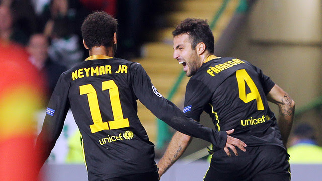 Cesc fabregas celebrating with Neymar