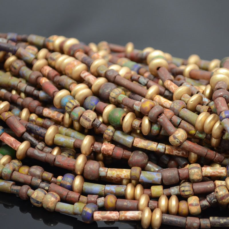s37612 Czech Glass - Mixed Large Rocailles and Tubes - Sun Dance (strand)