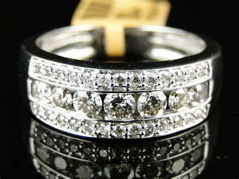 14K New Mens White Gold Round Cut Diamond Ring Wedding