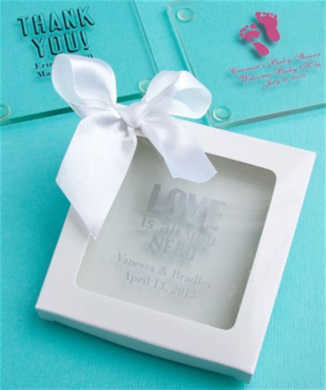 Personalized Glass Coaster Wedding Favors   Custom Coasters