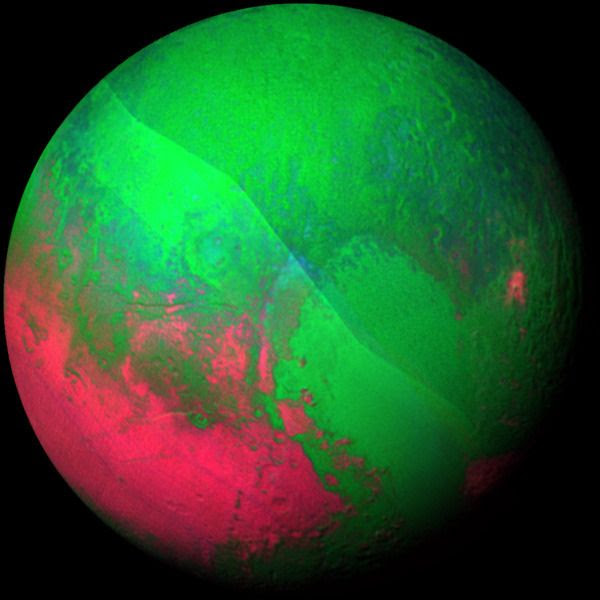 A false color image of Pluto taken by NASA's New Horizons spacecraft on July 14, 2015.