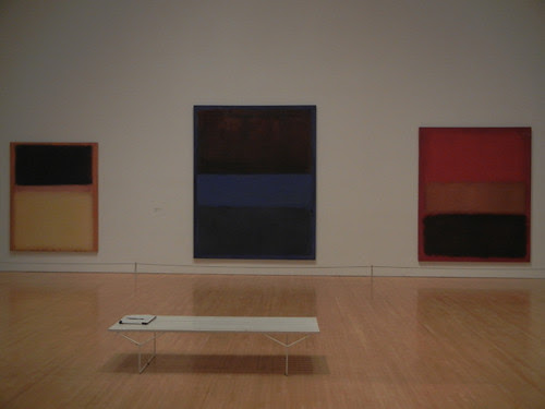 DSCN8778 - _ No. 9 (Dark over Light Earth_Violet and Yellow in Rose), 1954, No. 61 (Rust and Blue) [Brown Blue, Brown on Blue], 1953 & No. 46 [Black, Ochre, Red Over Red], 1957, MOCA