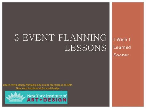 3 Event Planning Lessons I Wish I Learned Sooner   NYIAD
