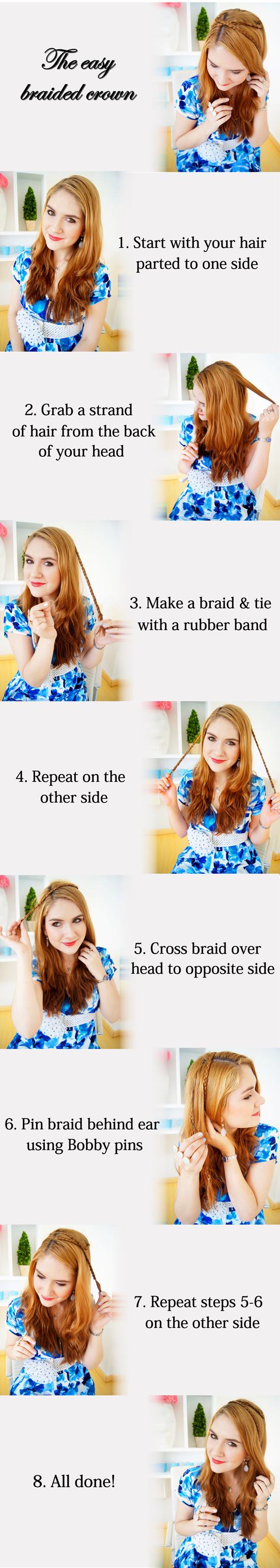The Quick Braided Crown Hair tutorial
