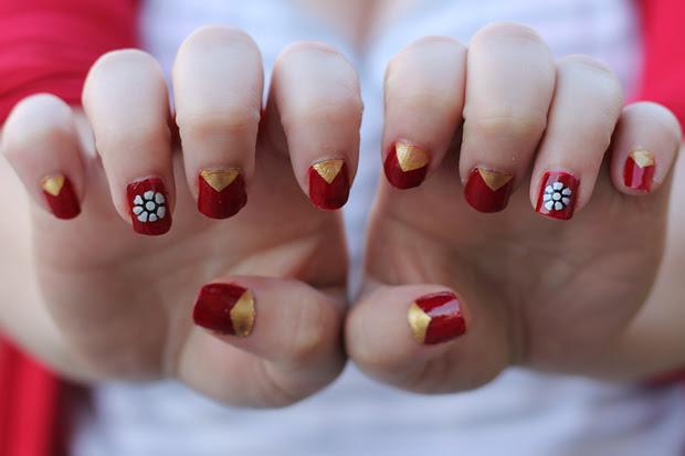 blog wanderlust whimsy megan julep iron man nails nail polish nail art nail varnish red gold silver tony stark